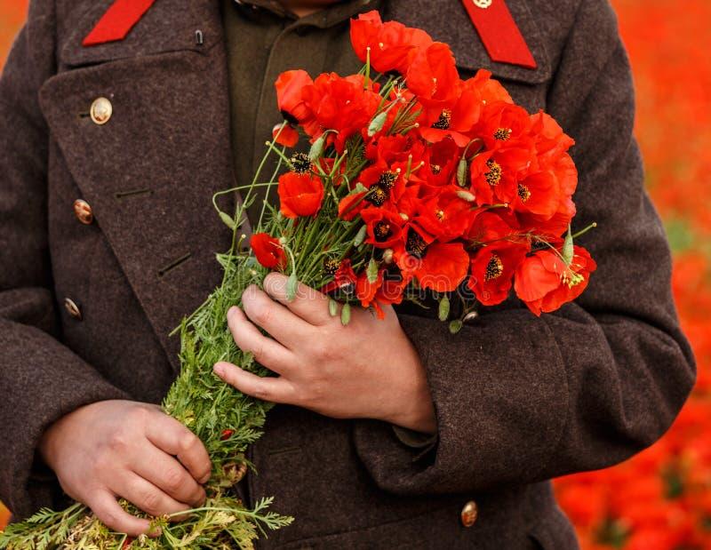 Amapolas rojas en manos en campo de la primavera fotografía de archivo libre de regalías