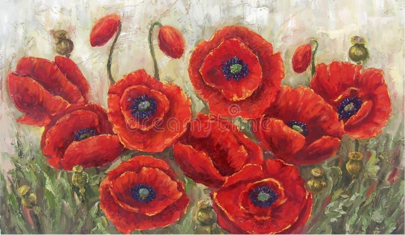 Amapolas rojas Esto es un vector de mi pintura al óleo stock de ilustración
