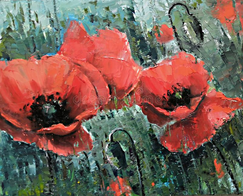 Amapolas rojas grandes en el campo - pintura al óleo por el cuchillo de paleta Flores rojas grandes Pintura al óleo hecha a mano  imágenes de archivo libres de regalías