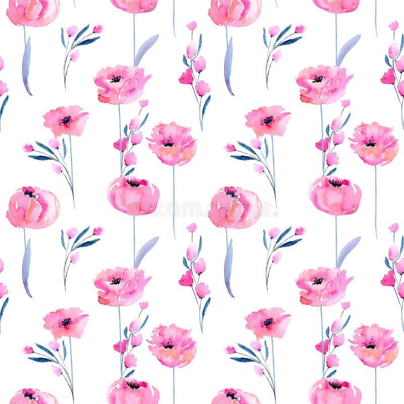 Amapolas rosadas de la acuarela y modelo inconsútil de las ramas florales ilustración del vector
