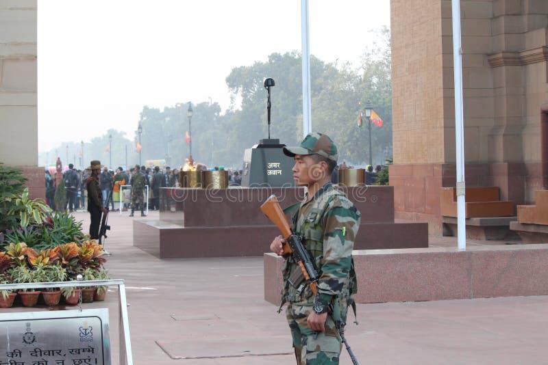 Amar Jawan Jyoti [Oorlogsgedenkteken] stock fotografie
