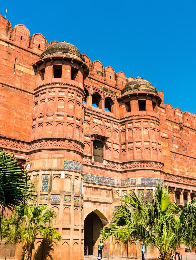 Amar Singh Gate of Agra Fort. UNESCO heritage site in India stock images