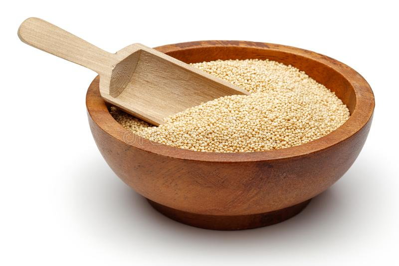 Amaranth grains in wooden bowl stock photography