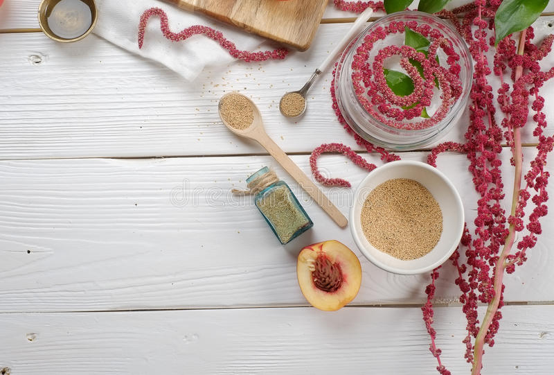 Amaranth on the table. Food, the trade of cosmetology. The concept of health, beauty royalty free stock images