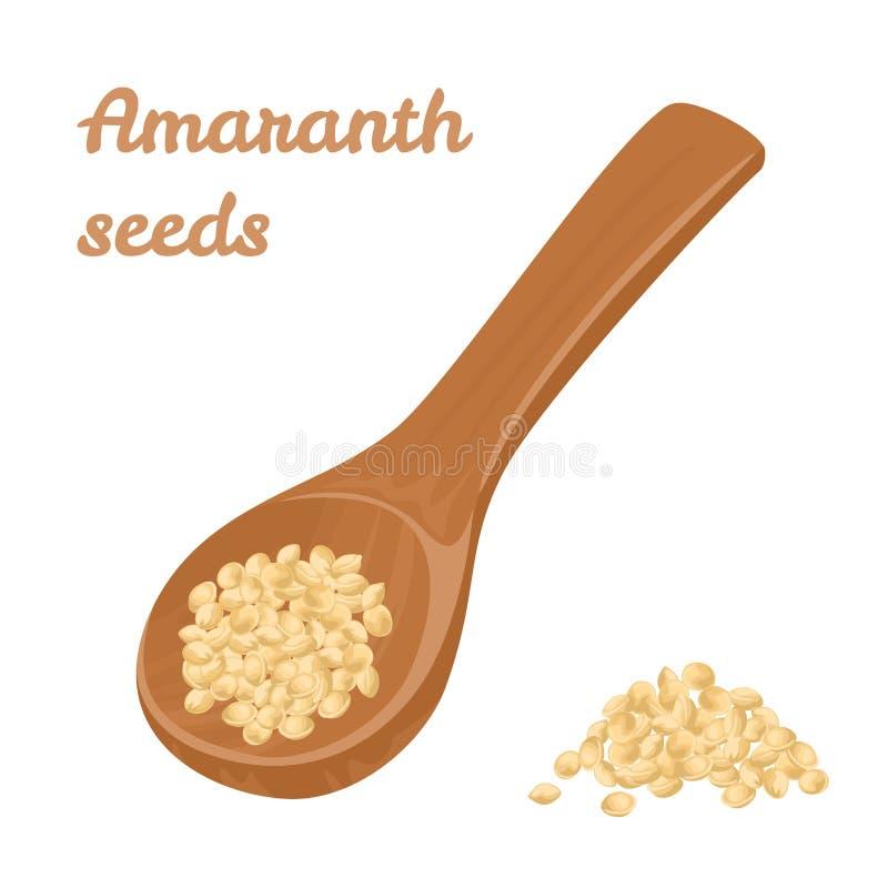 Amarantzaden in een houten lepel Vectorillustratie van Gezond voedsel vector illustratie