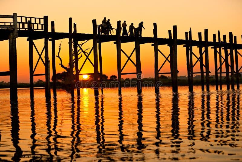 amarapura bein most Mandalay Myanmar u zdjęcie stock