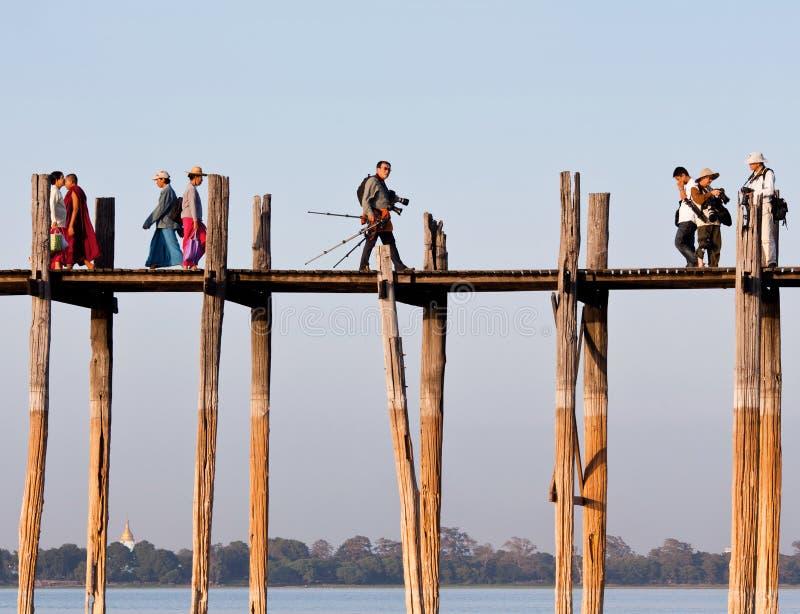 Famous U Bein teak bridge on Taungthaman lake in Myanmar stock photo