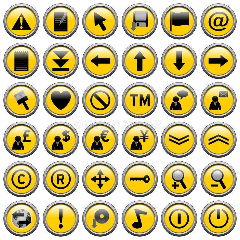 Amarele em volta do Web abotoa-se [2] ilustração do vetor