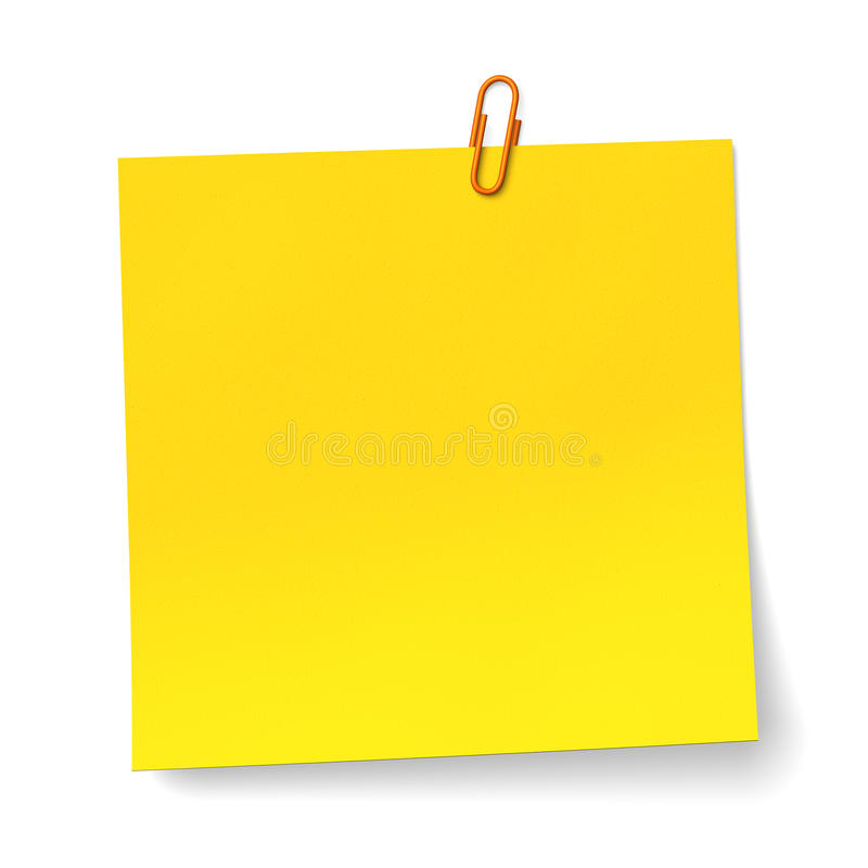 Amarele a nota com o grampo de papel alaranjado imagem de stock royalty free