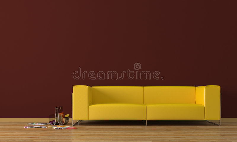 Amarele o sofá ilustração do vetor