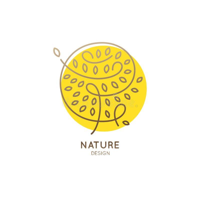 Amarelo abstrato da árvore do logotipo ilustração stock