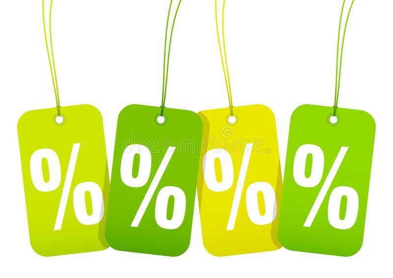 Amarelo ajustado de Und do verde da mola de quatro por cento da venda dos Hangtags ilustração royalty free