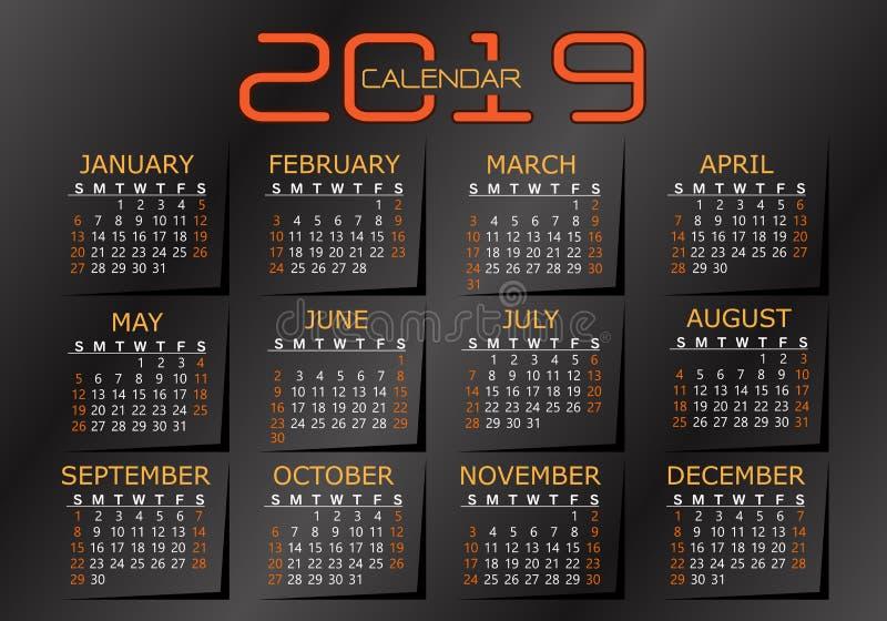 amarelo 2019 alaranjado do calendário no vetor metálico cinzento escuro do fundo ilustração do vetor