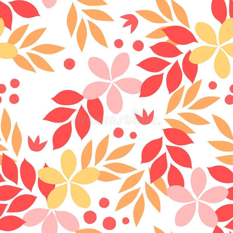 Amarelo alaranjado e re folhas de outono e flores teste padrão sem emenda, vetor ilustração stock