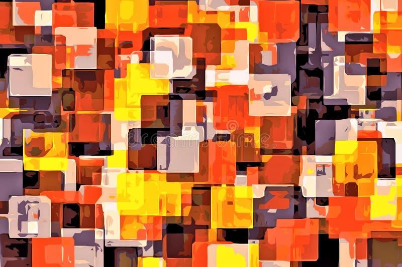 Amarelo alaranjado e sumário de pintura do quadrado preto ilustração do vetor