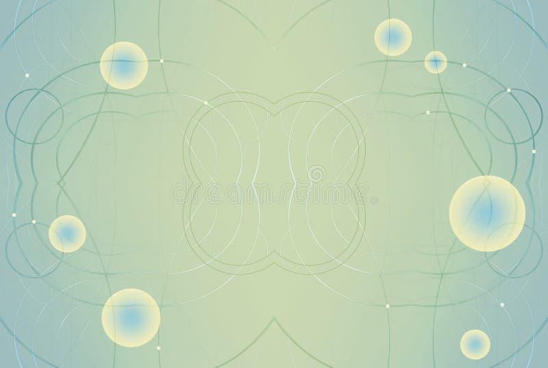 Amarelo brilhante brilhante do sumário e fundo azul Bolas luminosas e espirais metalizadas Ilustração elegante do fundo ilustração do vetor