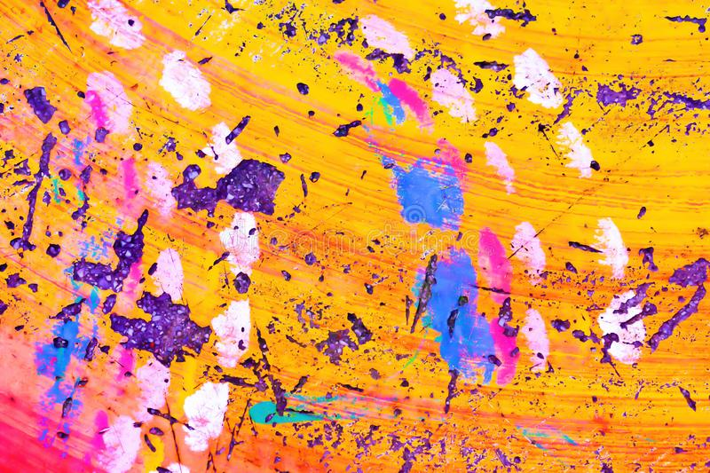Amarelo colorido, rosa e fundo concreto abstrato azul da cor da textura da pintura ilustração stock