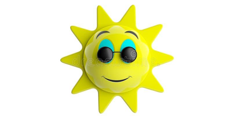 Amarelo com os óculos de sol redondos pretos que sorriem, entalhe do sol de Emoji, isolado em um fundo branco ilustração 3D ilustração stock