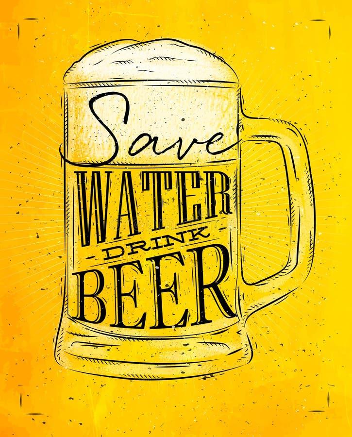 Amarelo da cerveja da bebida do cartaz ilustração do vetor