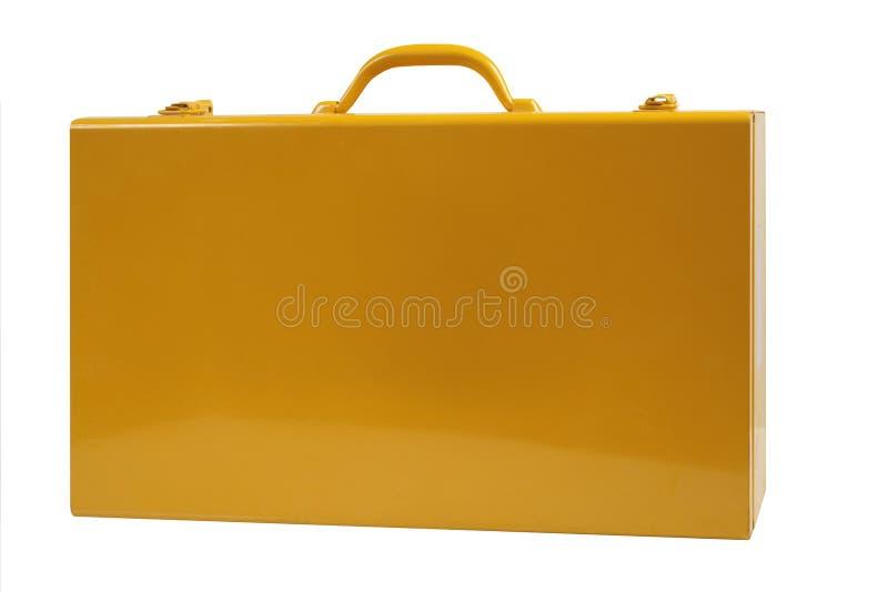 Amarelo da mala de viagem do metal imagens de stock