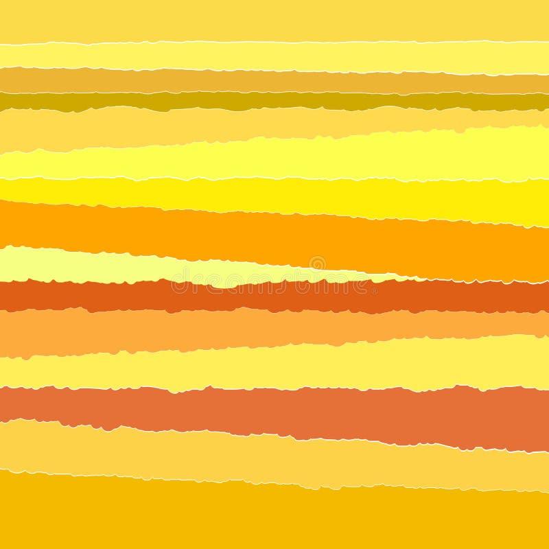 Amarelo de papel rasgado listras do fundo ilustração do vetor