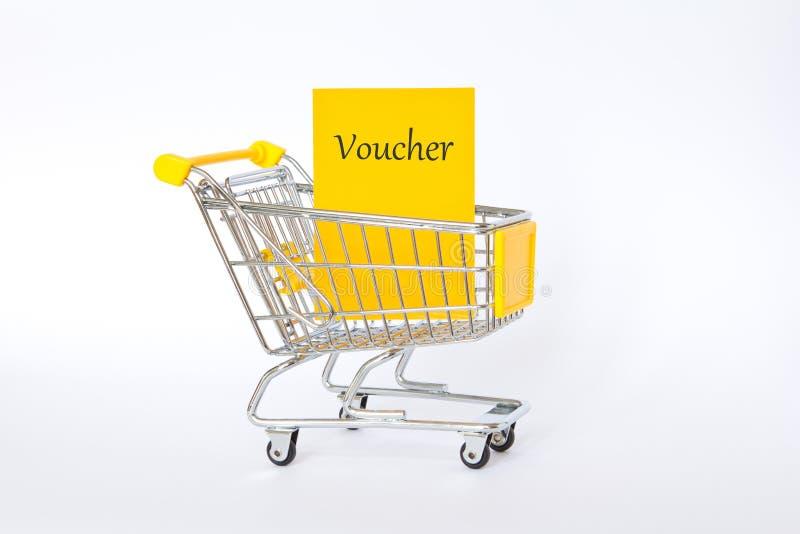 Amarelo do carrinho de compras do comprovante fotografia de stock royalty free