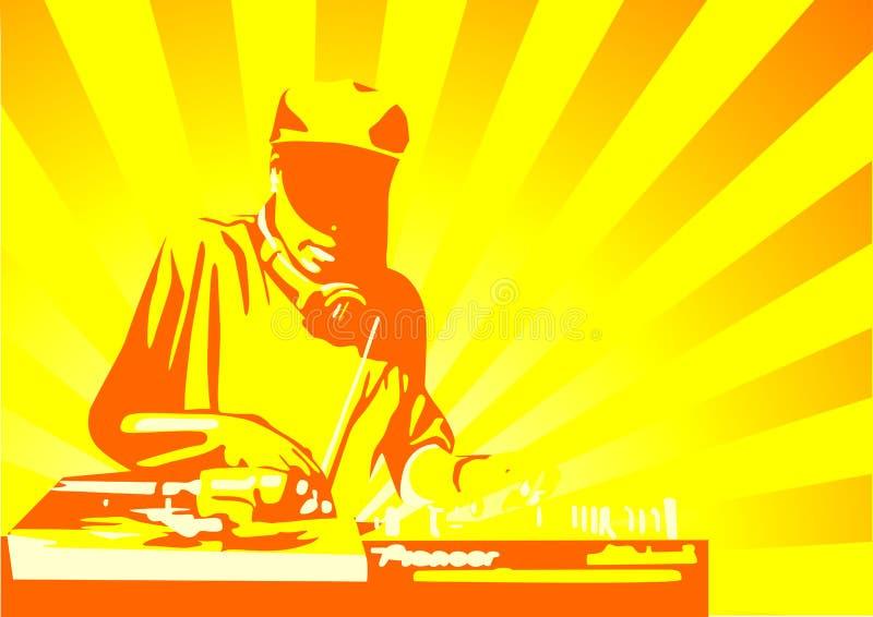 Amarelo do disco-jóquei ilustração royalty free