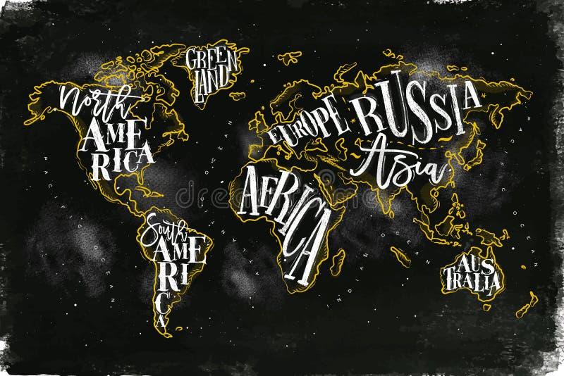 Amarelo do giz do vintage de Worldmap ilustração stock