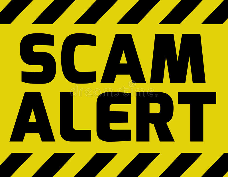 Amarelo do sinal do alerta de Scam ilustração do vetor