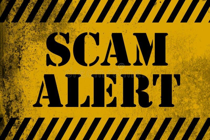 Amarelo do sinal do alerta de Scam com listras ilustração do vetor