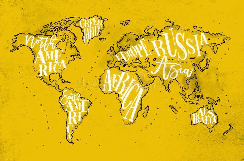 Amarelo do vintage de Worldmap ilustração do vetor