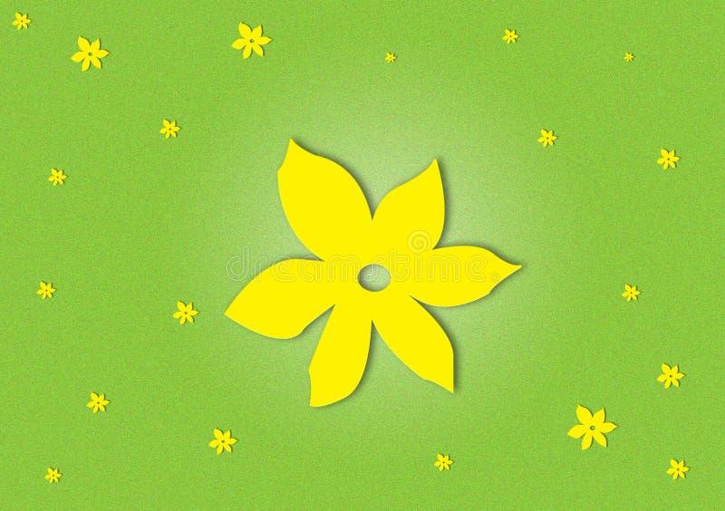 Amarelo florescido no papel de parede textured verde do fundo imagens de stock