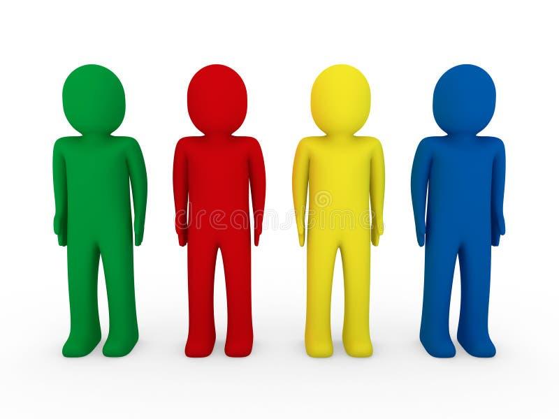 amarelo humano do verde do vermelho azul da equipe 3d ilustração stock