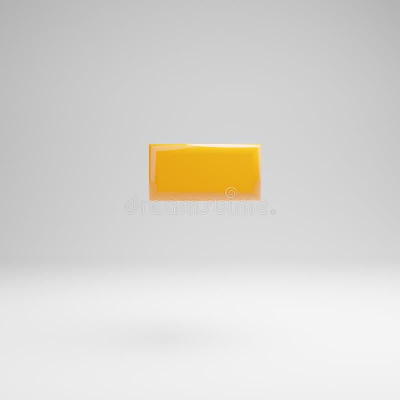 Amarelo lustroso menos o símbolo isolado no fundo branco ilustração do vetor