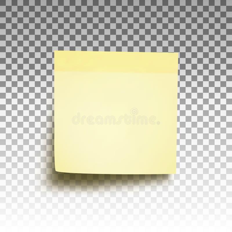 Amarelo pegajoso da nota do post-it ilustração royalty free