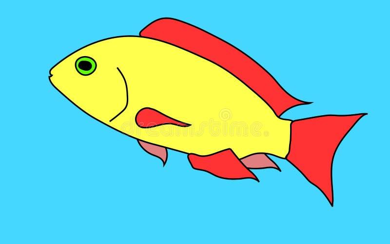 Amarelo, pintado, um peixe dos desenhos animados com um olho verde e aletas do vermelho em um fundo azul ilustração stock