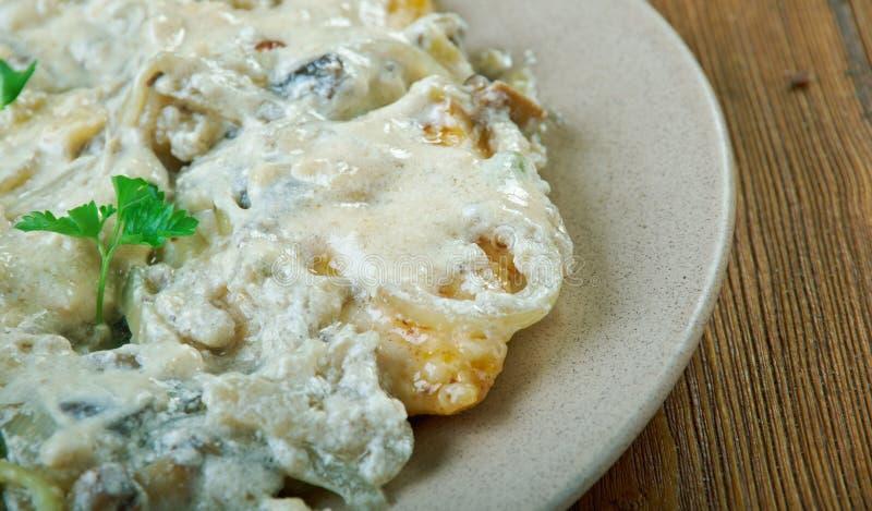 Amaretto Chicken. Sauteed chicken and mushrooms in an amaretto cream sauce royalty free stock photo