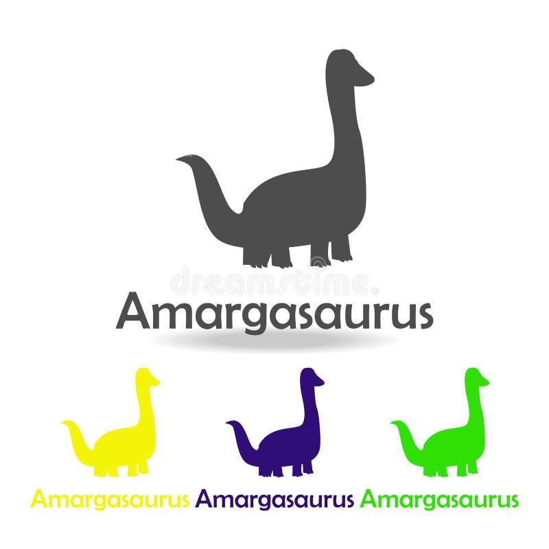 amargasaurus, dinosaur barwił ikonę Może używać dla sieci, logo, mobilny app, UI, UX ilustracja wektor