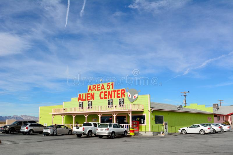 Exterior view of Area 51 Alien Center in Amargosa Valley, with c. Amargosa Valley, Nevada, United States of America - November 24, 2017. Exterior view of Area 51 royalty free stock photography