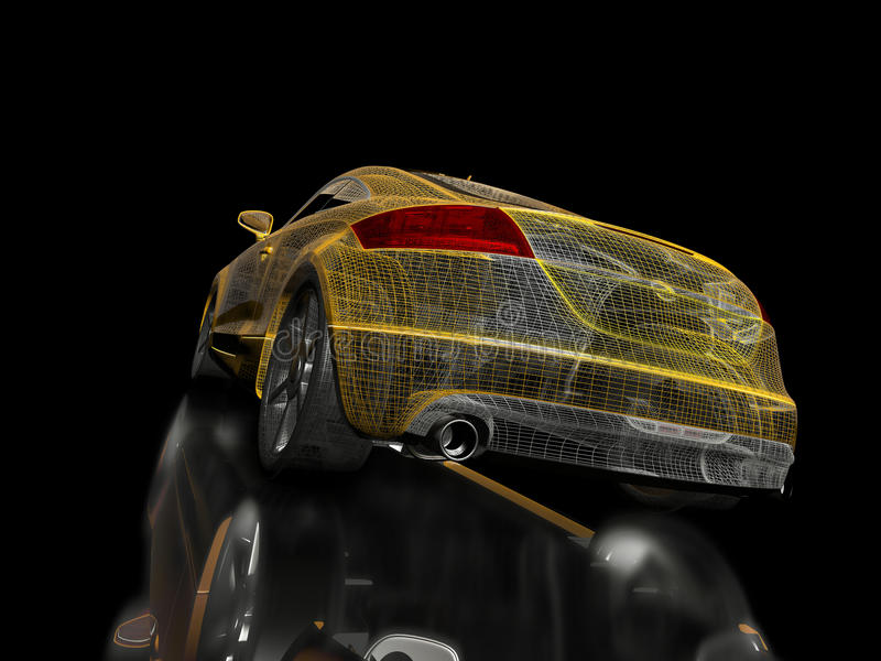 Amarillee el coche deportivo ilustración del vector