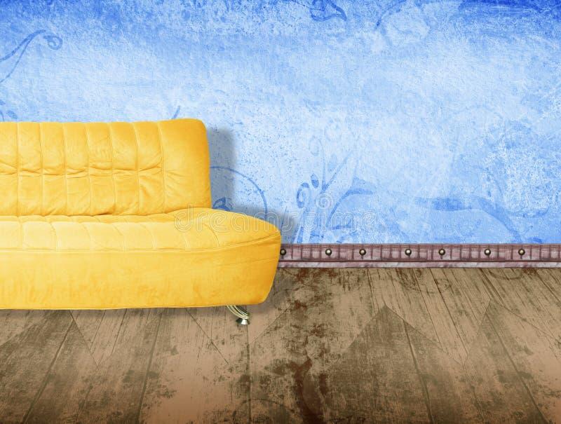 Amarillee el sofá ilustración del vector