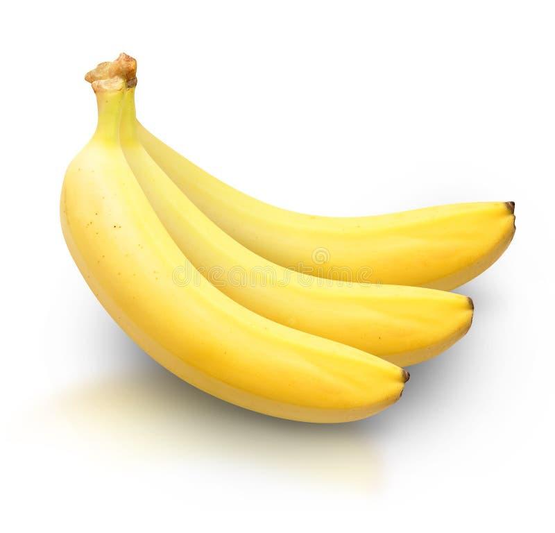 Amarillee los plátanos en el fondo blanco imagen de archivo