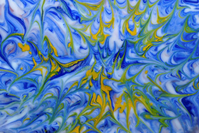 Amarillo azul de la textura abstracta de la acuarela en blanco stock de ilustración