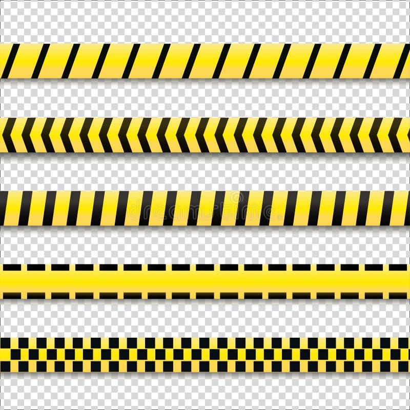 Amarillo con las líneas de policía negras stock de ilustración