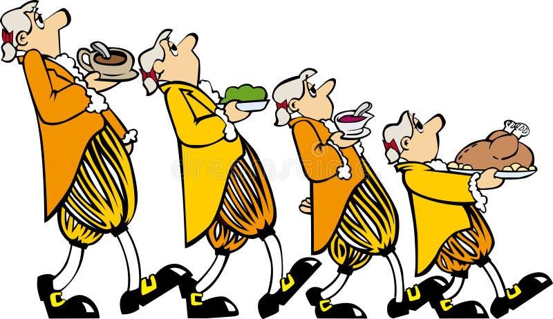 Amarillo de cuatro camareros stock de ilustración
