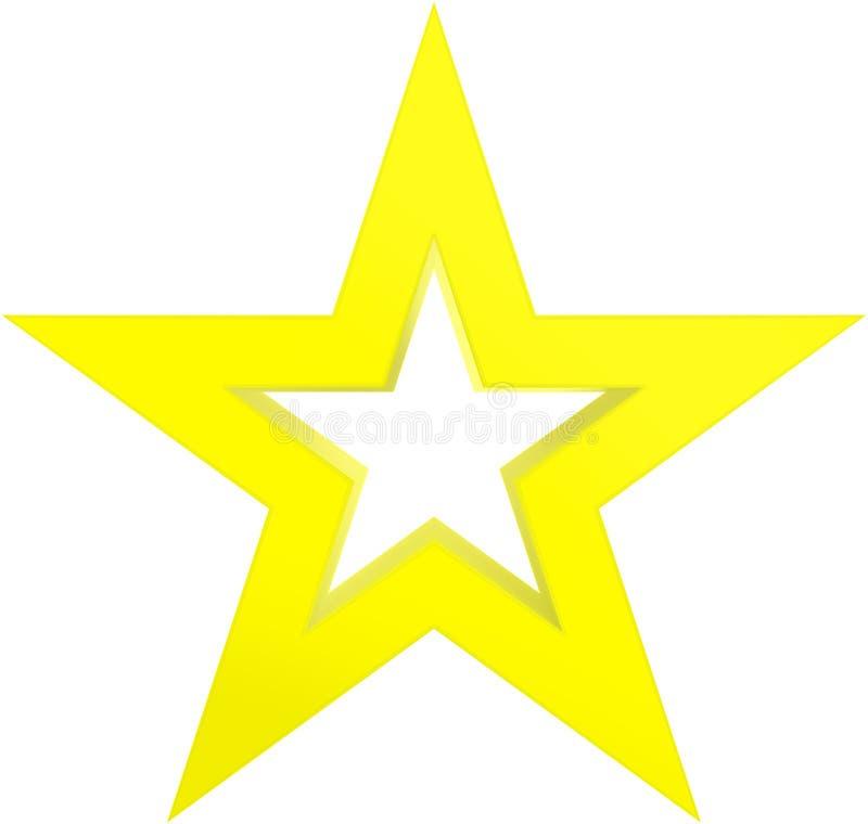 Amarillo de la estrella de la Navidad - estrella resumida de 5 puntos - aislado en pizca ilustración del vector