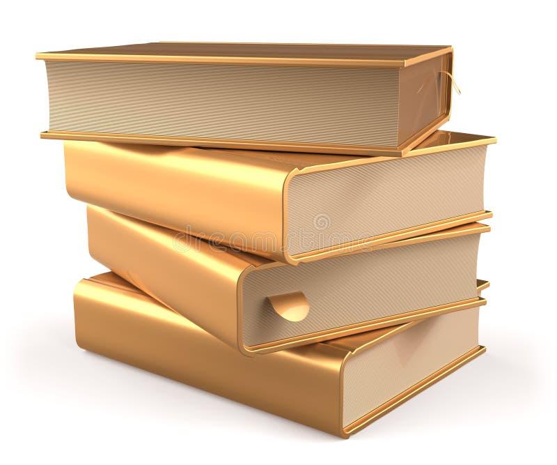 Amarillo de la literatura del espacio en blanco del libro del oro de la pila del libro de texto de oro stock de ilustración