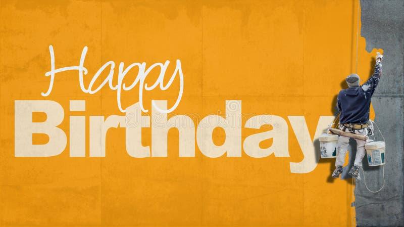 Amarillo de la pared del feliz cumpleaños fotografía de archivo libre de regalías