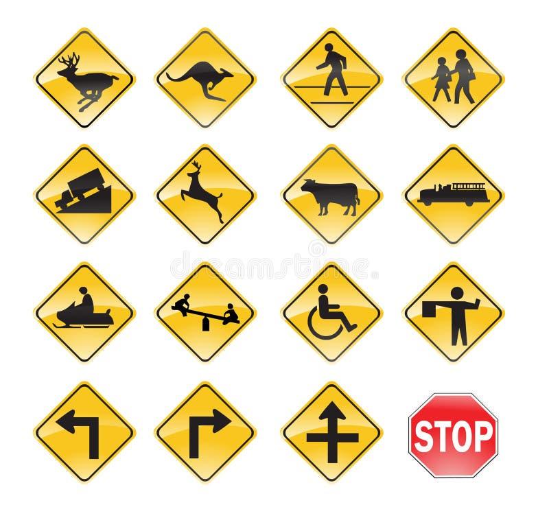 Amarillo de las señales de tráfico stock de ilustración