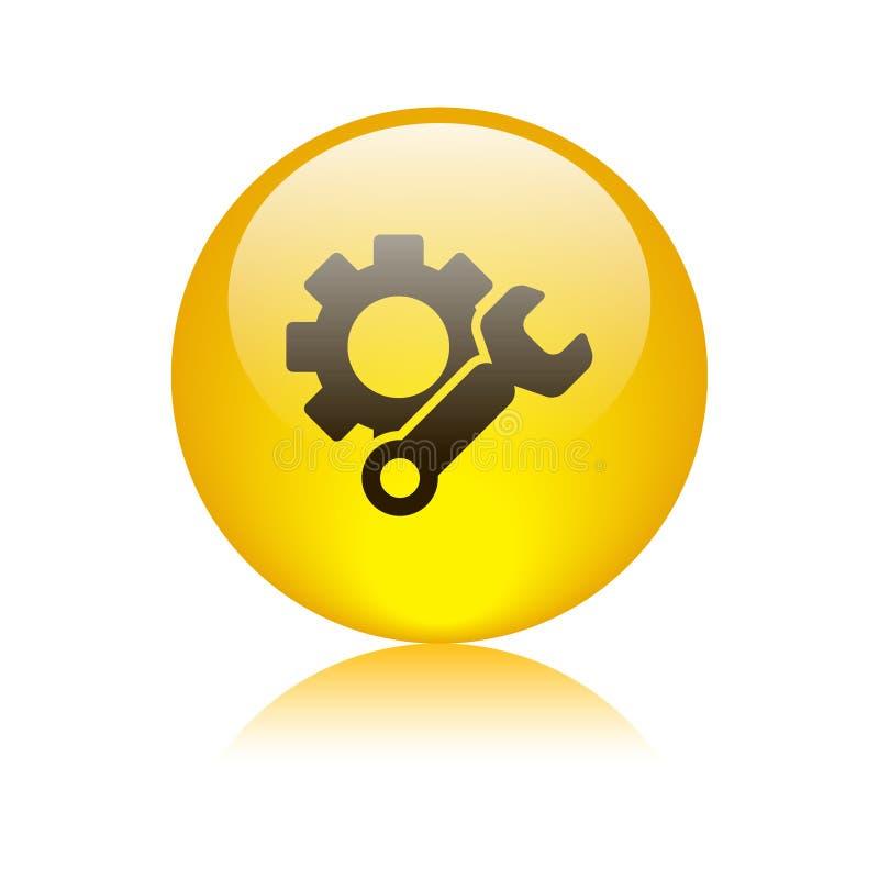 Amarillo del botón del web del icono de los ajustes stock de ilustración